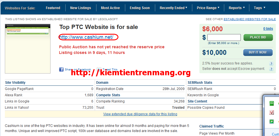 cashium [ptc] Ifbux, Klikerz đã Scam. Cashium.net được rao bán trên flippa