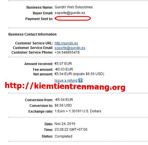 proof leemail Proof 24/11/2010, tiếp tục kiếm tiền với Leemails!