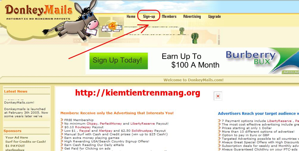 22 Sử dụng auto click kiếm tiền với donkeymails