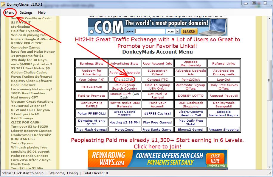 31 Sử dụng auto click kiếm tiền với donkeymails