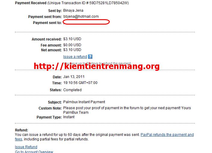 proof palmbux Bằng chứng thanh toán Palmbux ngày 13/01/2011