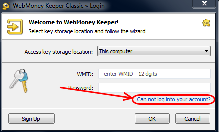 2 Khôi phục tài khoản webmoney classic khi có file key