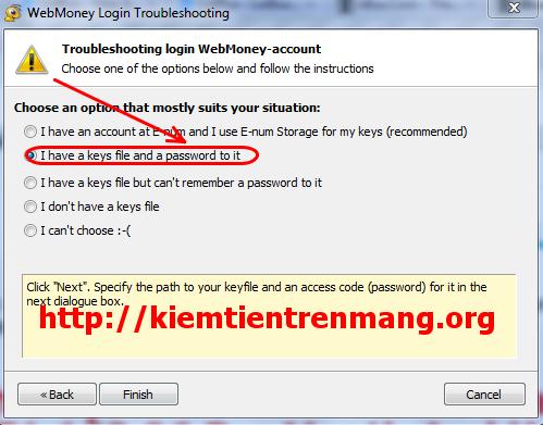 4 Khôi phục tài khoản webmoney classic khi có file key