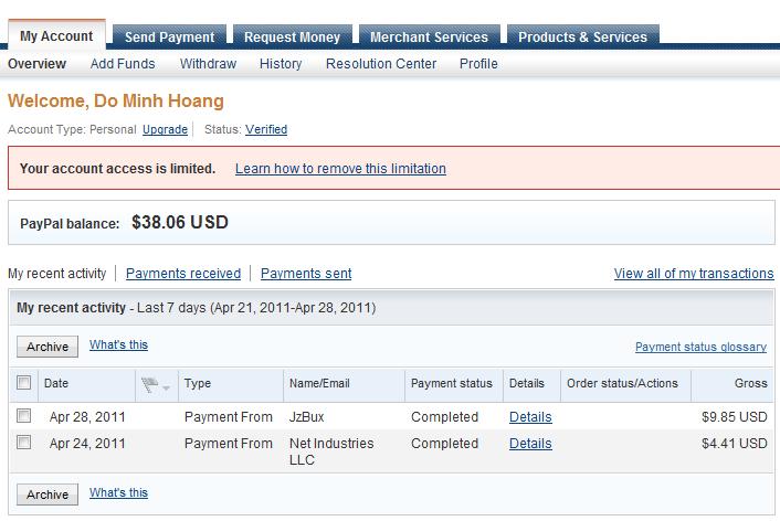 paypal limit Cẩn thận với các site ptc minimum payout thấp