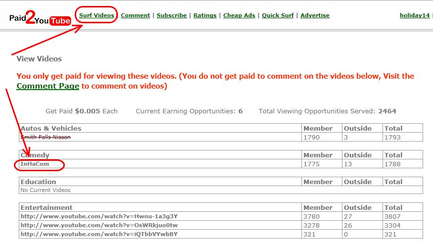 paid2youtube4 Paid2YouTube   Kiếm tiền từ xem video trên Youtube