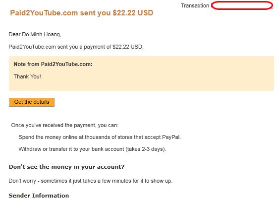 proof paid2youtube Paid2YouTube   Kiếm tiền từ xem video trên Youtube