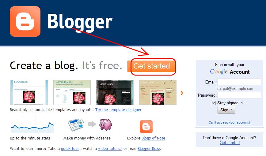 blogspot1 Chi tiết cách tạo blog miễn phí với Blogspot