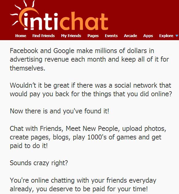 intichat Kiếm tiền từ mạng xã hội mới Intichat.com