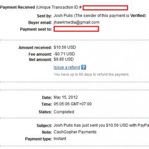Kiếm tiền với Cashgopher, đã có proof
