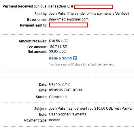 proof Kiếm tiền với Cashgopher, đã có proof