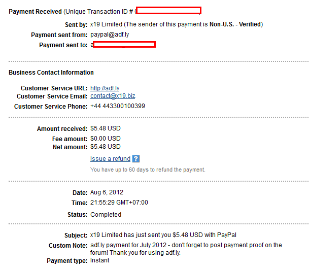 proof adf Kiếm tiền từ rút gọn link với Adf.ly
