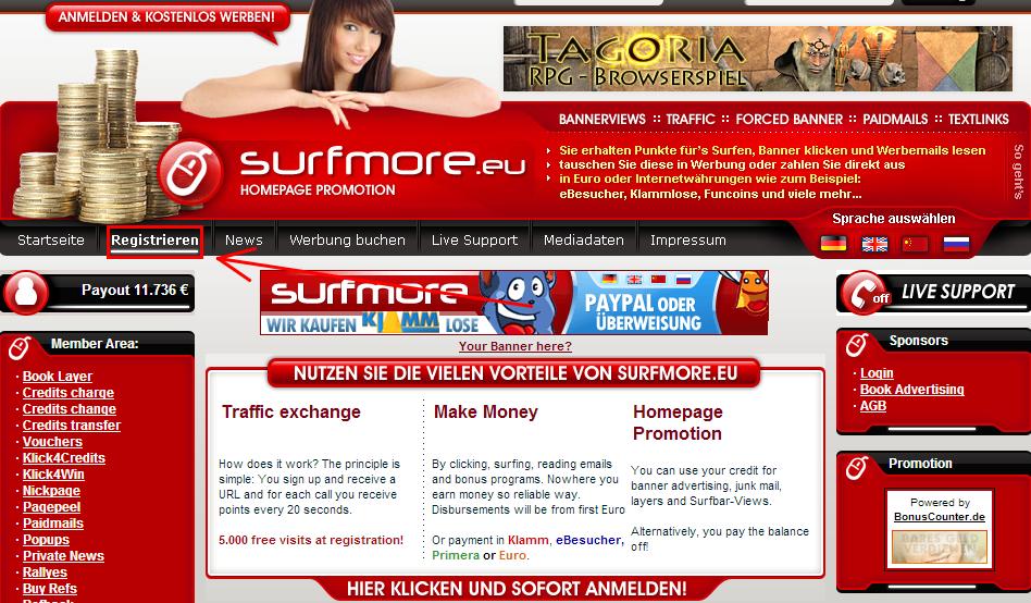 surfmore 4 Surfmore.eu   Site cashbar tổng hợp của Đức