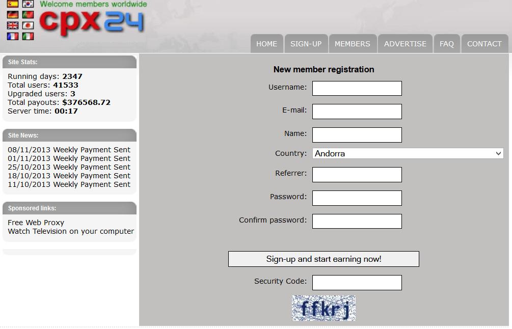 cpx24 1 CPX24.com   Site kiếm tiền từ hình thức CPM lâu đời