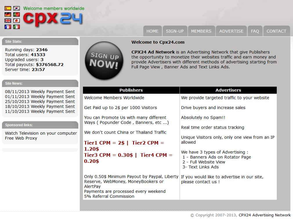 cpx241 CPX24.com   Site kiếm tiền từ hình thức CPM lâu đời
