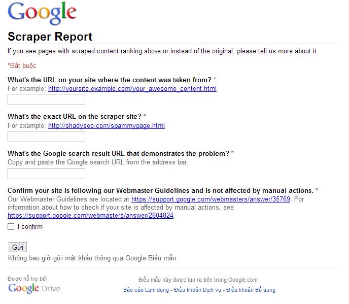 Scraper Report to google